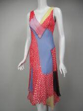 DIANE VON FURSTENBERG Dita Red White Blue Yellow Print Silk Chiffon Midi Dress 2