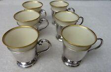 Set of 6 Lenox Porcelain & Sterling Silver Demitasse Cups
