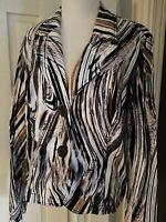 TRIBAL Blazer Jacket ~ Black White Tan Striped Size XL 14 Cropped Cotton/Spandex