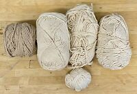 Knitting Yarn-Crochet-Crafts-Lot 250g-100% Cotton-ECRU-Beige-Vintage-BX15