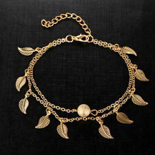 Women's Hippy Boho Gold Plated Anklet With Mini Leaf Pendant