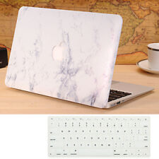 White Marble Hard Case Cover + Keyboard Skin For Macbook Air 13'' A1369 A1466