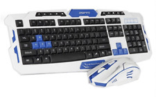 Wireless PC Multimedia Office & Gaming Mechanical Keyboard Mouse White Blue Set