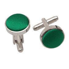 DQT Brass Fabric Inlay Cuff Links Plain Solid Emerald Green Mens Cufflinks