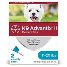 Bayer K9 AdvantixII Flea & Tick Med. Dogs 11-20 lb 2 dose -3 Boxes/6 Mo Supply