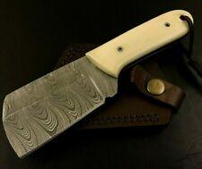 Handmade Damascus Steel Hatchet/ Axe-Leather Sheath-Lanyard