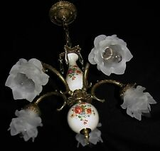 VTG DECO FRENCH CAST BRASS GLASS SHADE CRYSTALS CHANDELIER CEILING FIXTURE 50's