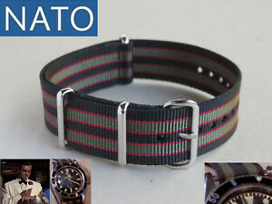 BRACELET MONTRE NATO 18mm BOND chronograph military mechanical watch strap band