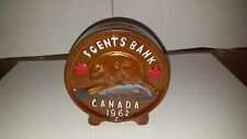 Vintage 1962 Canadian Knickle 5 Cents Beaver Coin Piggy Bank Made in Japan