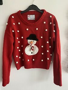 Ladies Red Snowman Christmas Jumper Size 10