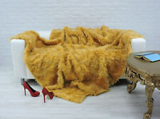 "REAL TUSCAN FUR THROW BLANKET YELLOW, 86"" x 74"" #018"