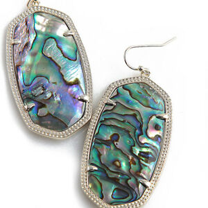 NEW Kendra Scott DANIELLE Drop Earrings Black Mother of Pearl Abalone Dust Cover