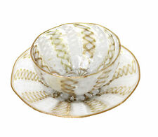 Venetian Antique Clear Gold Ribbon Glass Bowl & Underplate White Gold Trim