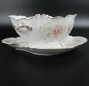 Jugendstil Porzellan Sauciere Blumendekor um 1900 Porcelain Sauce Boat