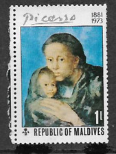 REPUBLIC OF MALDIVES POSTAL ISSUE - MINT STAMP 1974, PICASSO MOTHERHOOD PAINTING
