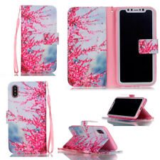 Wallet PU Leather Case Flip Stand Phone Case Cover w/ Rope for Apple iPhone X