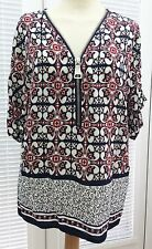 """""""NEW LOOK"""",WOMENS TOP/BLOUSE, NAVY/RED/CREAM, SHORT SLEEVED,SIZE 8 -USED"""