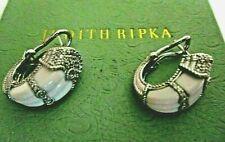 Judith Ripka NIB Sterling Silver Carved White Agate Diamonique Pierced Earrings