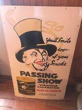 vintage old passing show cigarettes porcelain sign cigar