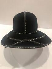Vintage Frank's Girl New York Frank Olive Black Velvet Hat Womans White Stitch