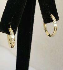 round Hoop eternity Earring 16 mm long .20 carat 10K Yellow Gold small huggie