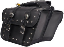 MEDIUM SIZE MOTORCYCLE PV LEATHER SADDLEBAGS w/STUDS & CONCHOS UNIVERSAL FIT