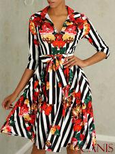 Fashion Women's Slim Dress A-Line Dress 3/4 Sleeve Floral Dress Party Sundress