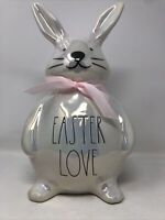 Rae Dunn By Magenta Iridescent EASTER LOVE CERAMIC BUNNY Very Cute  NEW LL