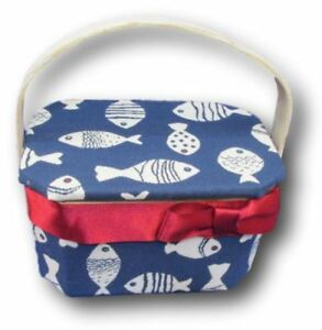 Wood Wooden Box Basket Fish Nautical Fabric Sewing Trinket Box Decorative