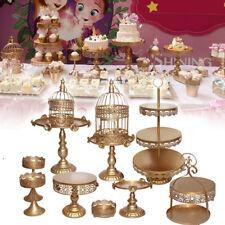 12 Pcs Elegant Iron Wedding Rose Cake Stand Decor Cupcake Plates Holder Gloden