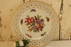 "Antique German Plate Dresden Floral Flowers Pierced Reticulated Rim Gold Rim 10"""