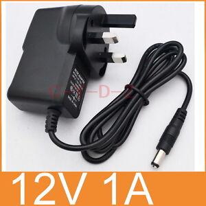 AC Converter Adapter DC 12V 1A Power Supply 12W 1000mA UK plug DC 5.5mm x 2.1mm