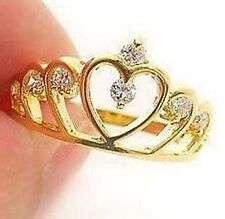 FD392 18K Gold Plated Princess Queen Ring Crown Rhinestone Diamond Rings ~1pc~