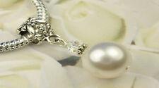 White Crystal Pearl Dangle Charm Bead European Style w Swarovski Elements