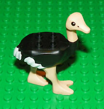 LEGO - Animal, Land  Ostrich with White Tail and Wingtips and Light Flesh Legs
