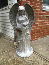 """Angel - Unpainted Recycled Aluminum Statue - Planter or Bird Feeder - 35"""" tall"""