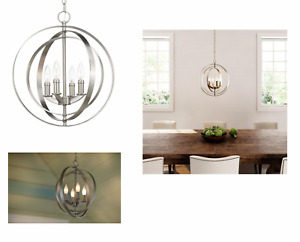 Progress Lighting 16X18'' Equinox Brushed Nickel Transitional Orb Pendant Light