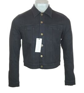 New Men's Authentic Superfine Trip Classic Denim Jacket Small Black