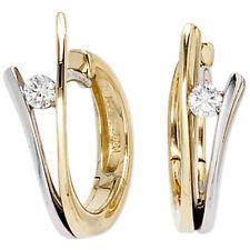 Aros Oro 585 Oro Blanco Oro Amarillo Bicolor 2 Diamantes Brillantes Pendientes