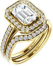 1.95 ct Emerald & round Cut Diamond Halo Engagement Wedding Ring 14k Yellow Gold