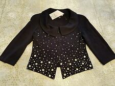 NWT NEW St John Evening women's black Santana knit beaded jacket 6
