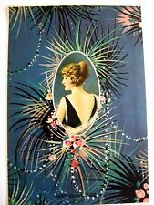 Stunning Vintage Candy Label w/ Profile of Woman w/ Pearls  by Haskell Coffin *
