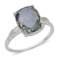 Solitaire Ring 925 Sterling Silver Cushion Green Amethyst Jewelry for Women
