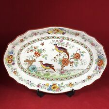 """More details for copeland spode — 5813 asiatic pheasant — oval fluted 11.5"""" serving dish — c.1907"""