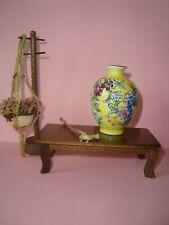 7 pc Dollhouse Miniatures Coffee Table Floor Vase Coat Rack Dust Pan Plant+