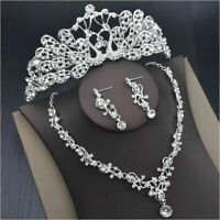 Bridal Jewelry Tiara Necklace And Earring Set Crown Tiara Rhinestone