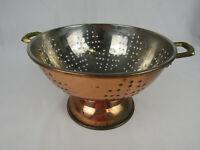 """Vintage Solid Copper & Brass Colander Strainer 9"""" Footed"""