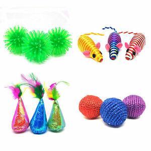 Ancol Cat Kitten Toys Glitter Neon Balls Stripey Mice Party Hats Random Colours