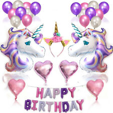 Unicorn Happy Birthday Balloon Banner Bunting Self Inflating Party Foil Balloons