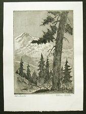 Vtg. Orig. Etching by William H. Wilke -- Mt. Shasta, California, Mountain